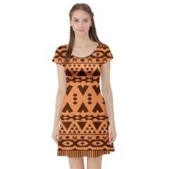 Tribal Print Hippie Pattern  Short Sleeve Skater Dresses