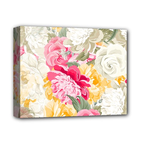 Colorful Floral Collage Deluxe Canvas 14  x 11