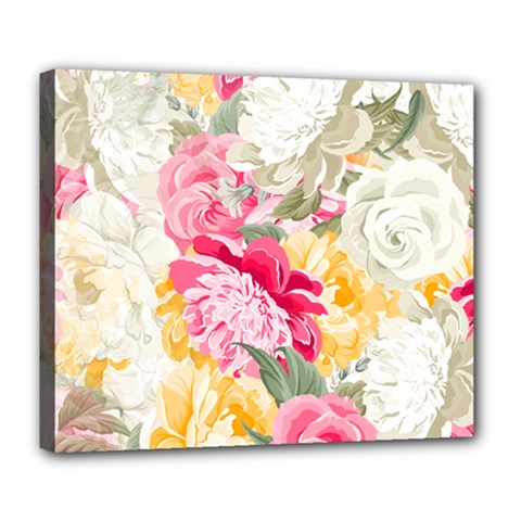 Colorful Floral Collage Deluxe Canvas 24  x 20