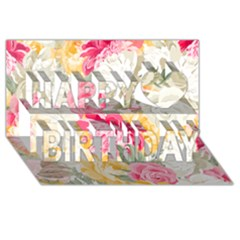 Colorful Floral Collage Happy Birthday 3D Greeting Card (8x4)