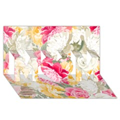Colorful Floral Collage MOM 3D Greeting Card (8x4)