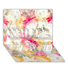 Colorful Floral Collage YOU ARE INVITED 3D Greeting Card (7x5)
