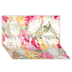 Colorful Floral Collage Engaged 3d Greeting Card (8x4)