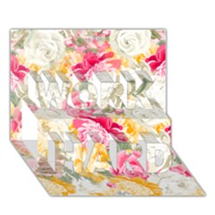 Colorful Floral Collage WORK HARD 3D Greeting Card (7x5)