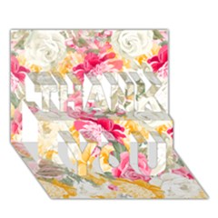 Colorful Floral Collage THANK YOU 3D Greeting Card (7x5)