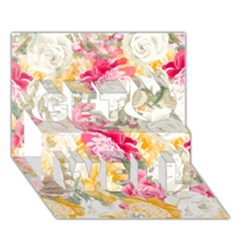 Colorful Floral Collage Get Well 3D Greeting Card (7x5)