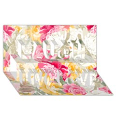 Colorful Floral Collage Laugh Live Love 3D Greeting Card (8x4)