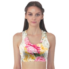 Colorful Floral Collage Sports Bra