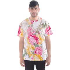 Colorful Floral Collage Men s Sport Mesh Tees
