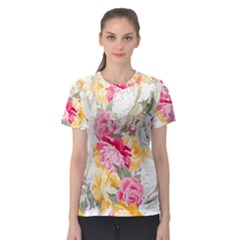 Colorful Floral Collage Women s Sport Mesh Tees