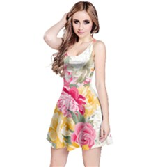 Colorful Floral Collage Reversible Sleeveless Dresses