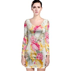 Colorful Floral Collage Long Sleeve Bodycon Dresses