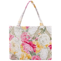Colorful Floral Collage Tiny Tote Bags