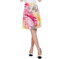 Colorful Floral Collage A Line Skirts