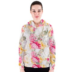 Colorful Floral Collage Women s Zipper Hoodies