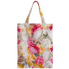 Colorful Floral Collage Zipper Classic Tote Bags