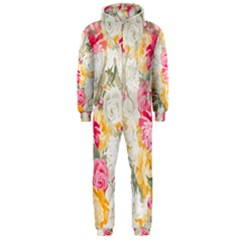 Colorful Floral Collage Hooded Jumpsuit (Men)
