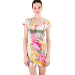 Colorful Floral Collage Short Sleeve Bodycon Dresses