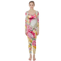 Colorful Floral Collage Long Sleeve Catsuit