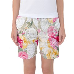 Colorful Floral Collage Women s Basketball Shorts