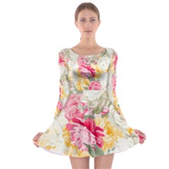 Colorful Floral Collage Long Sleeve Skater Dress