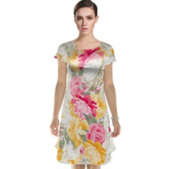 Colorful Floral Collage Cap Sleeve Nightdresses