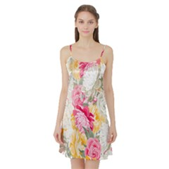Colorful Floral Collage Satin Night Slip