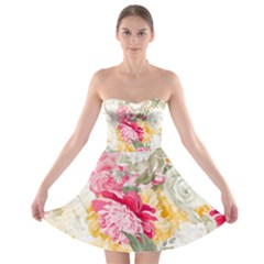 Colorful Floral Collage Strapless Bra Top Dress