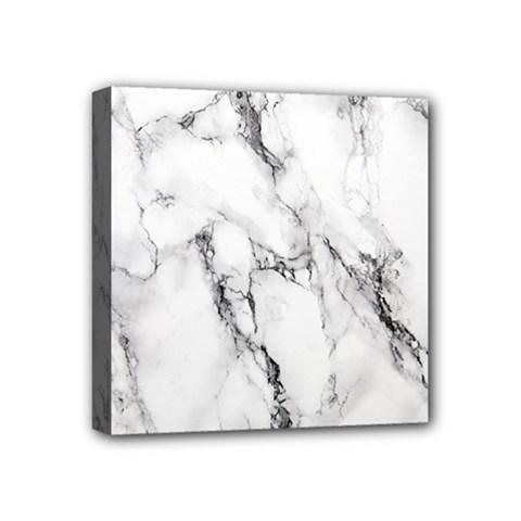 White Marble Stone Print Mini Canvas 4  x 4