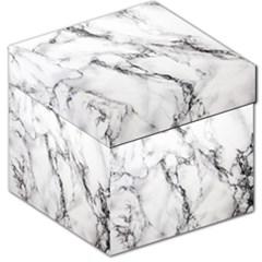 White Marble Stone Print Storage Stool 12
