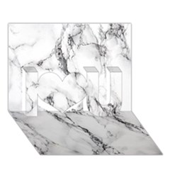 White Marble Stone Print I Love You 3D Greeting Card (7x5)