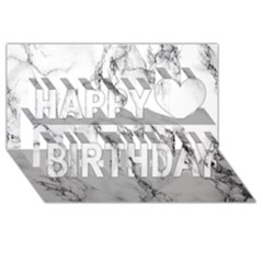 White Marble Stone Print Happy Birthday 3D Greeting Card (8x4)