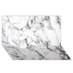 White Marble Stone Print Twin Hearts 3d Greeting Card (8x4)