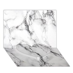White Marble Stone Print Heart Bottom 3D Greeting Card (7x5)