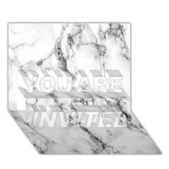 White Marble Stone Print You Are Invited 3d Greeting Card (7x5)