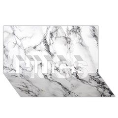 White Marble Stone Print HUGS 3D Greeting Card (8x4)