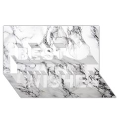 White Marble Stone Print Best Wish 3D Greeting Card (8x4)
