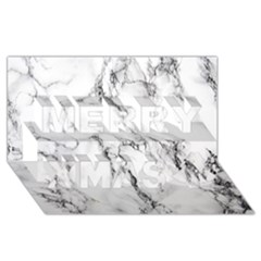 White Marble Stone Print Merry Xmas 3D Greeting Card (8x4)