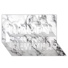 White Marble Stone Print Happy New Year 3D Greeting Card (8x4)