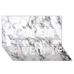 White Marble Stone Print Laugh Live Love 3d Greeting Card (8x4)