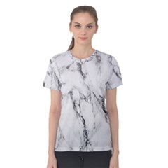 White Marble Stone Print Women s Cotton Tees