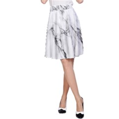 White Marble Stone Print A Line Skirts