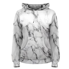 White Marble Stone Print Women s Pullover Hoodies