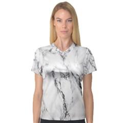 White Marble Stone Print Women s V-Neck Sport Mesh Tee