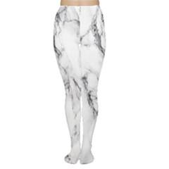 White Marble Stone Print Women s Tights