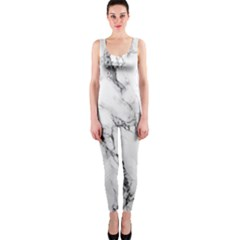 White Marble Stone Print OnePiece Catsuits