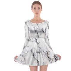 White Marble Stone Print Long Sleeve Skater Dress