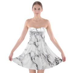 White Marble Stone Print Strapless Bra Top Dress