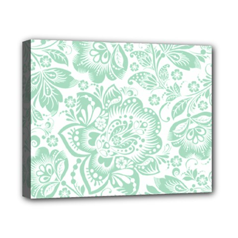Mint green And White Baroque Floral Pattern Canvas 10  x 8