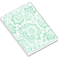Mint green And White Baroque Floral Pattern Large Memo Pads